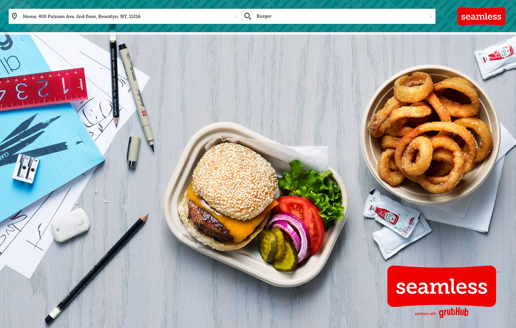 Seamless | Burger & Onion Rings